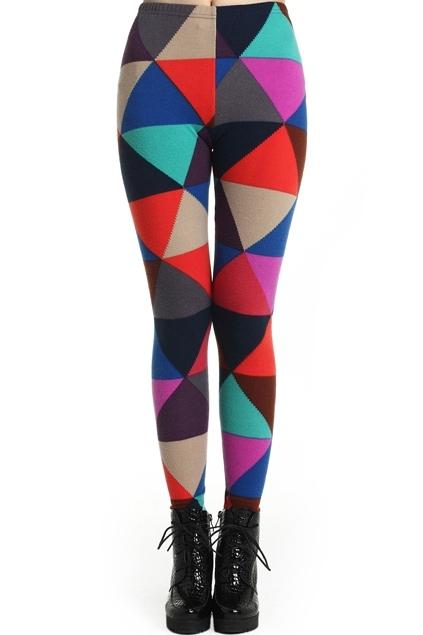 ROMWE Multicolored Triangle Print Leggings