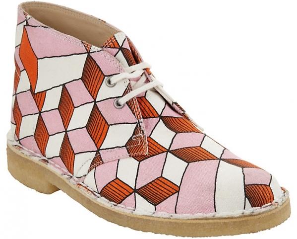 Clarks Ancient Eley Geometric Print Court Shoes