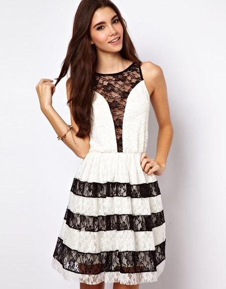 ASOS – Lace Insert Contrast Skater Dress