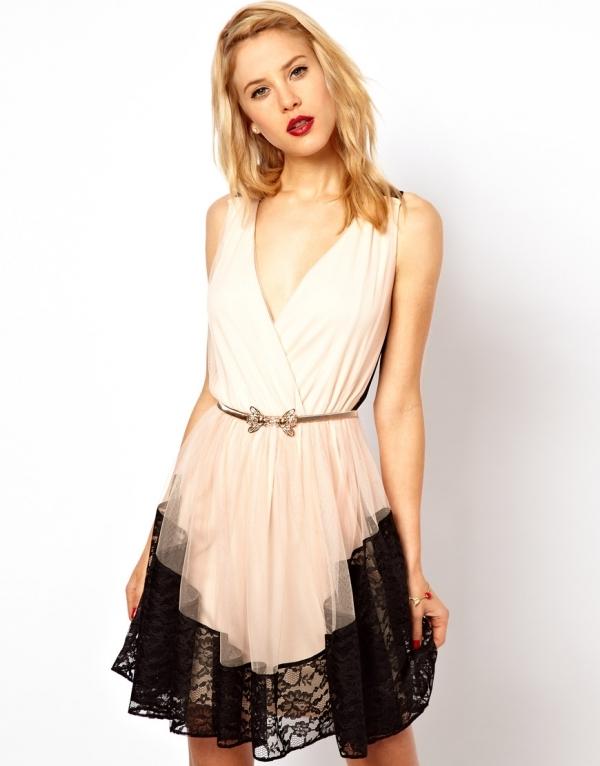 ASOS – Skater Dress in Contrast Lace & Mesh Back