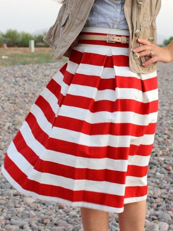 Corilynn Red Awning Striped Skirt