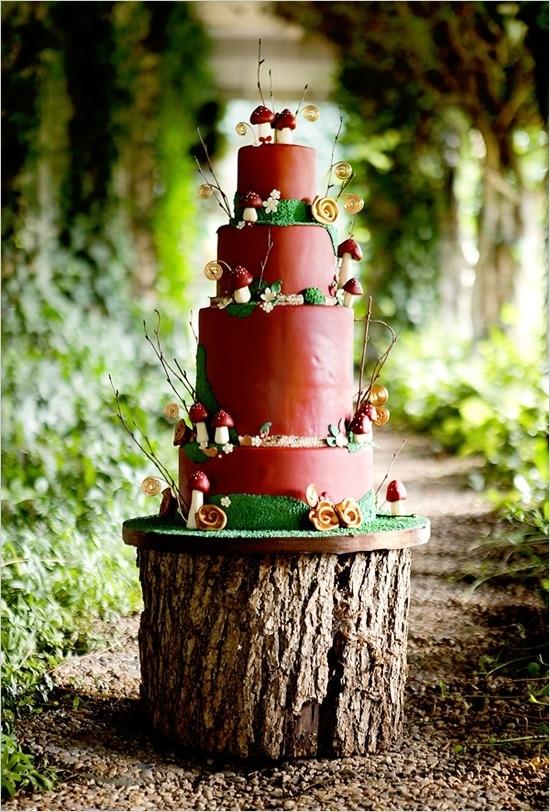 Mushroom Rustic Wedding Cake