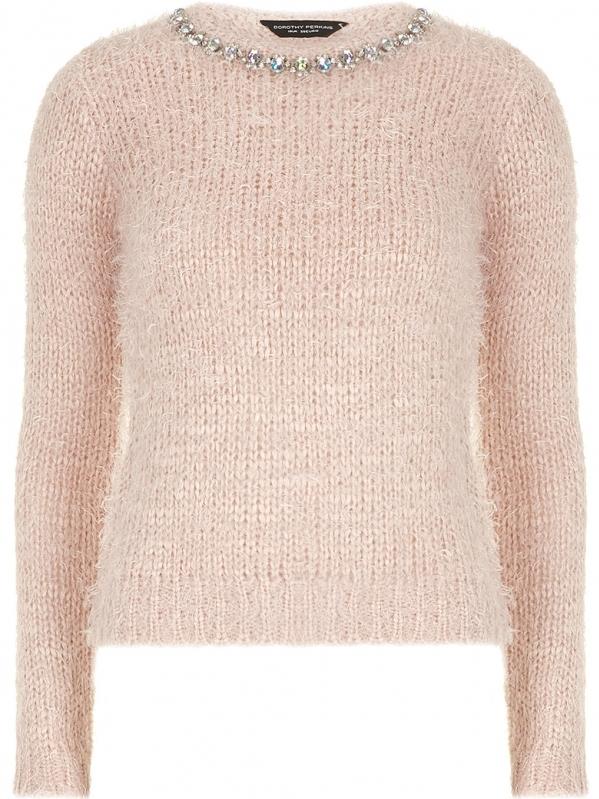 Embellished Neck Fluffy Sweater
