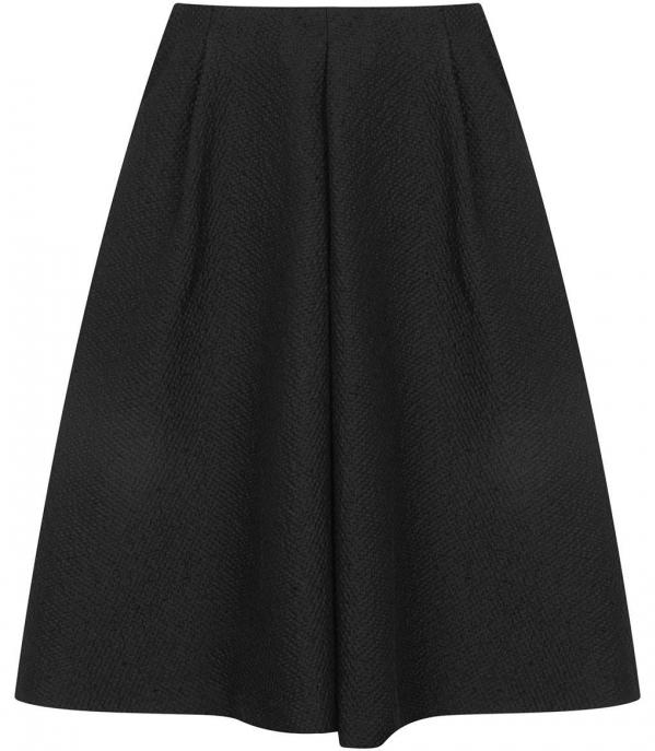 Textured Pleat Midi Skirt