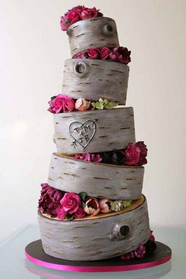 Birch Wood Rustic Wedding Cake