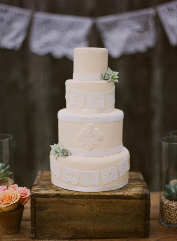 Succulent Rustic Wedding Cake
