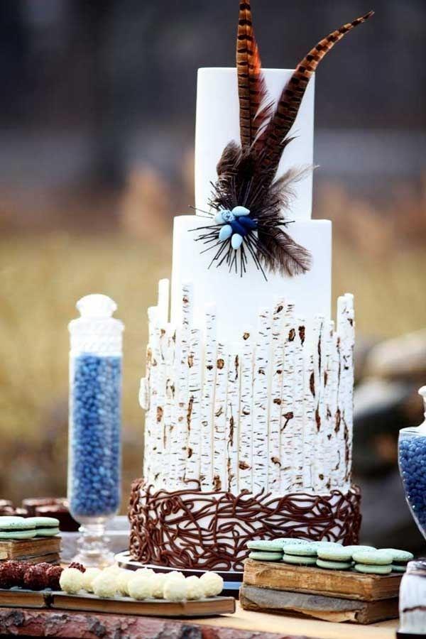 Birch Wood Forest Rustic Wedding Cake