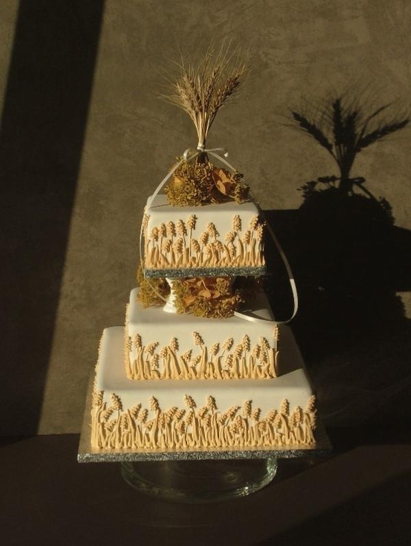 Rustic Wheat Wedding Cake