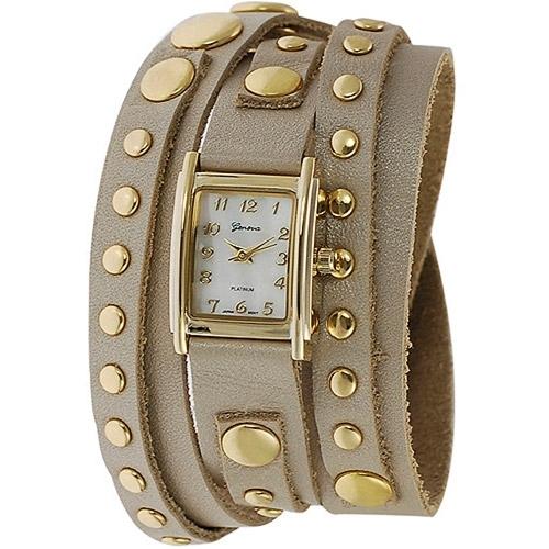 Geneva Platinum Studded Wrap around Watch
