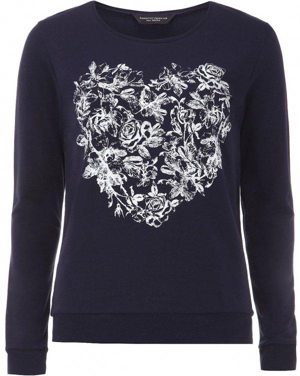 Navy Heart Print Sweater