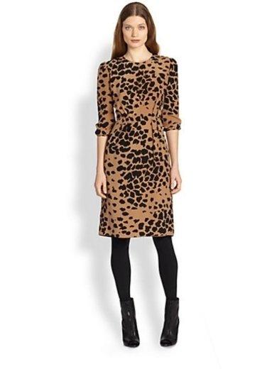 Burberry London Silk Crepe Animal Print Dress