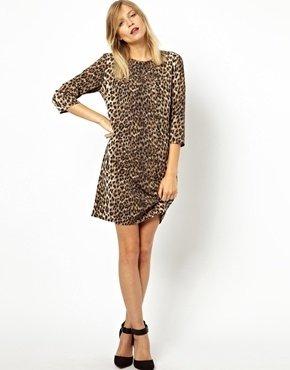ASOS Shift Dress in Animal Print