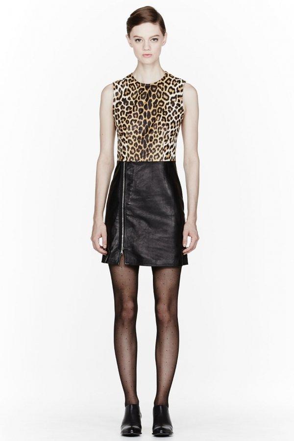 3.1 Phillip Lim Colorblock Leopard-Print Leather Biker Dress