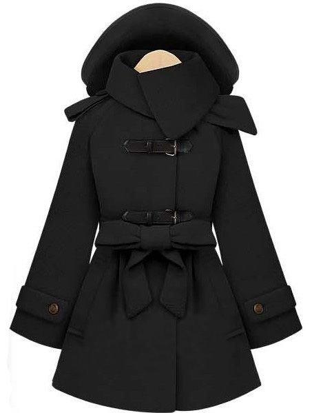 Sheinside – Black Removable Hooded Long Sleeve Drawstring Coat