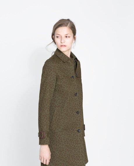 Zara Printed Cotton Trench Coat
