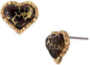 Betsey Johnson Leopard Heart Studs