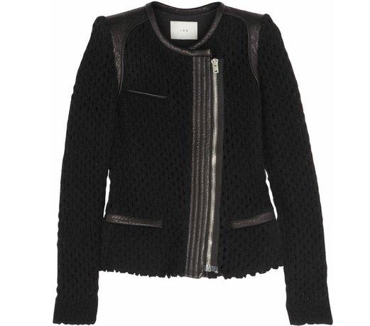 Iro Lina Leather and Open-Knit Wool-Blend Jacket