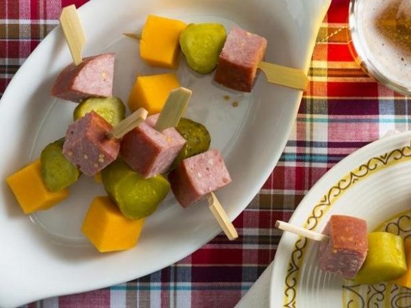 Salami, Boursin and Pickle Cones