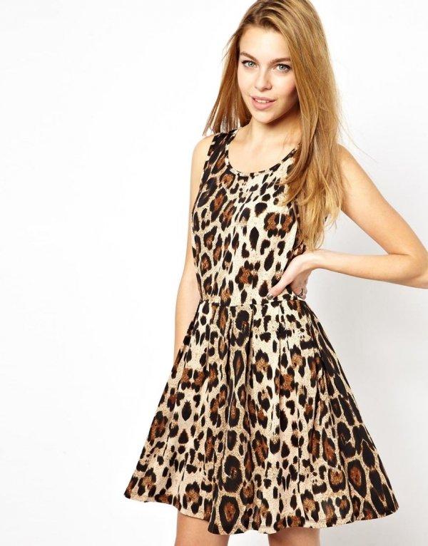 ASOS – Brave Soul Leopard Print Skater Dress
