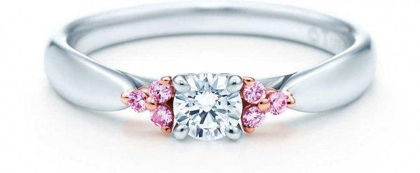 Tiffany Harmony Fancy Pink Diamond Side Stone Ring