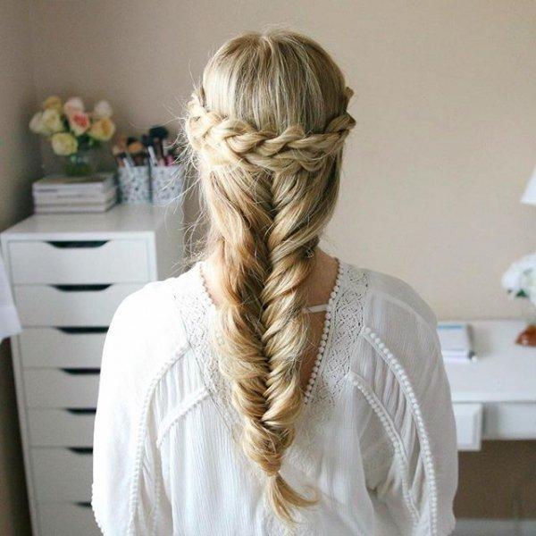hair, hairstyle, blond, long hair, french braid,