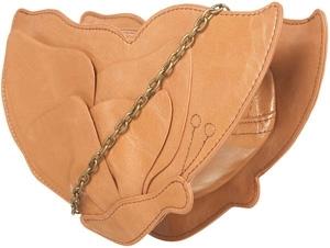 Tan Butterfly Cross Body Chain Handle Bag
