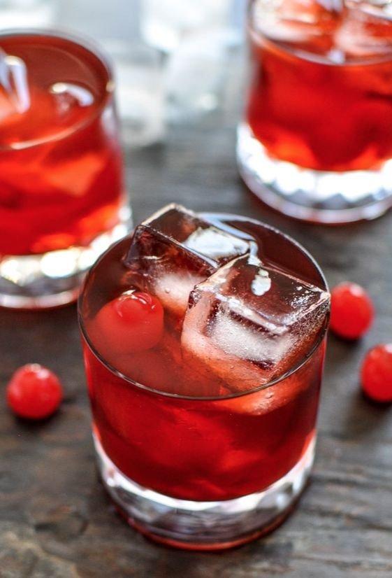 Cherry Whiskey Smash Cocktails