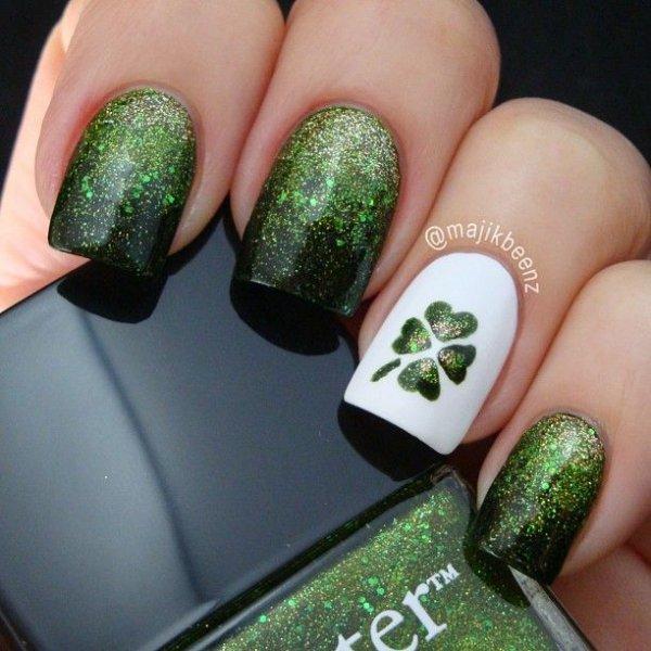 Glittery Shamrock - Glittery Shamrock - Spread The Luck: 50 Nail Designs For St.…