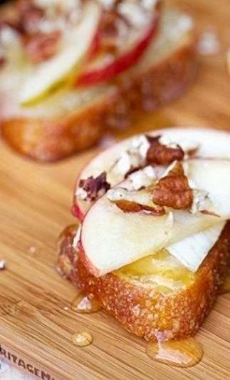 Apple, Brie and Honey Bruschetta