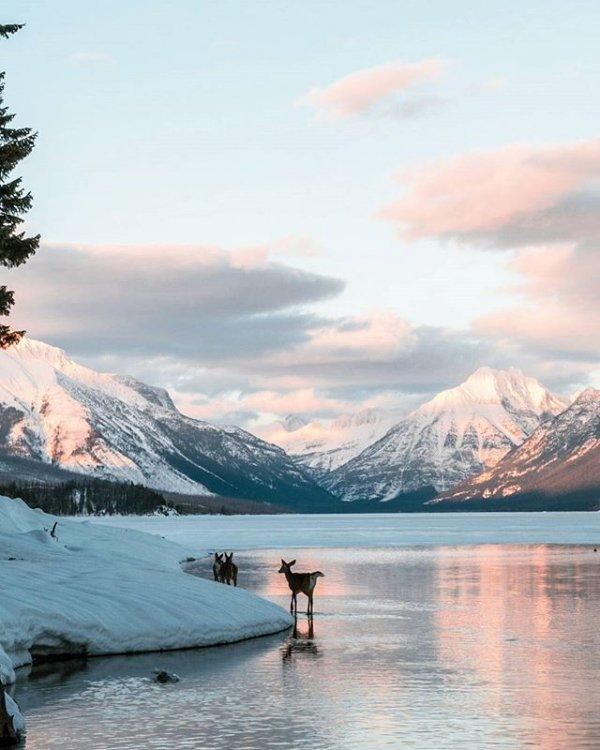 mountainous landforms, mountain, lake, cloud, morning,