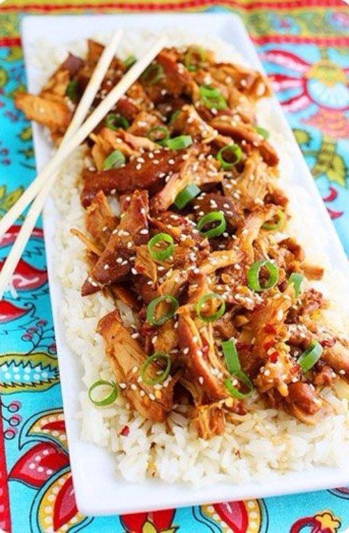 Sesame Chicken over Steamed Rice