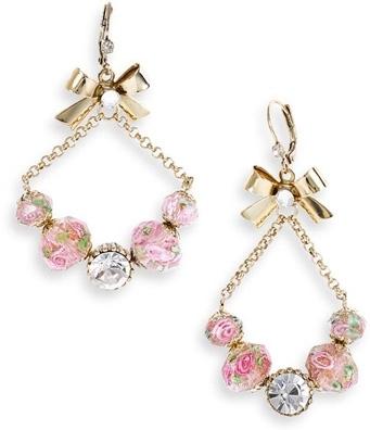 Vintage Betsey Flower Bead Drop Earrings