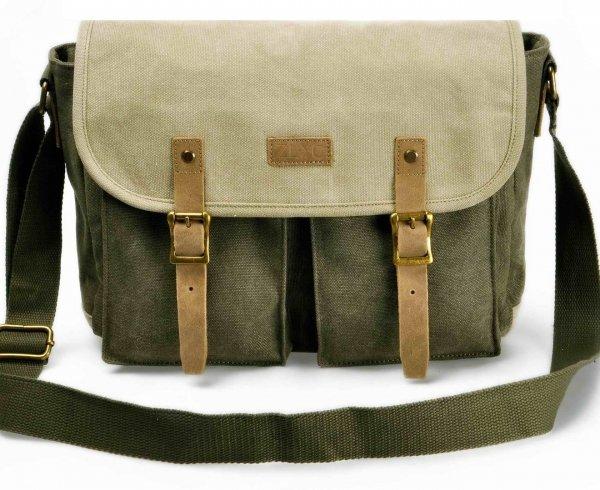 ZLYC Retro Mens Casual Canvas Leather Handbag Satchel