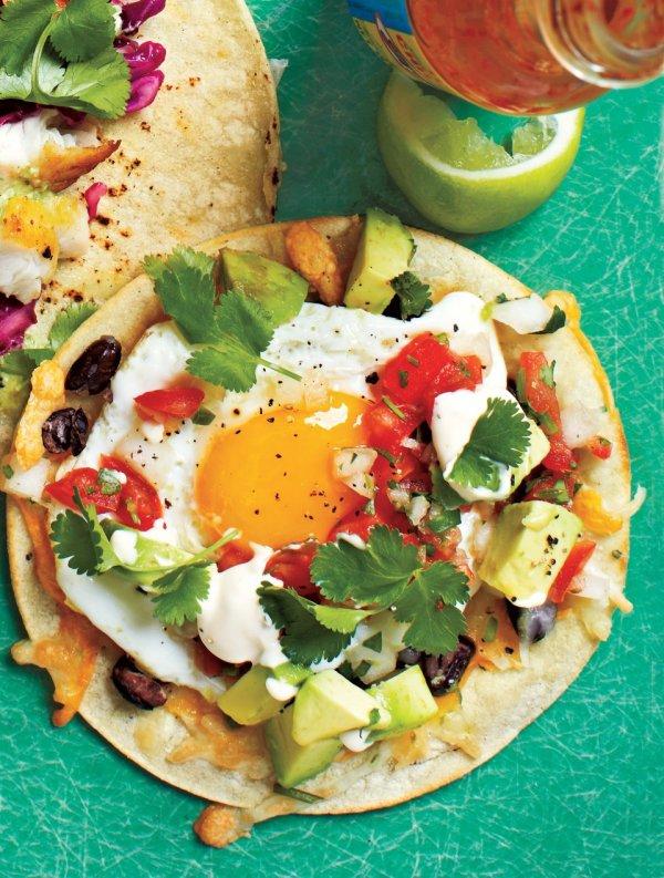 Taco with a Soft, Runny Egg Atop Beans, Cheese and Pico De Gallo
