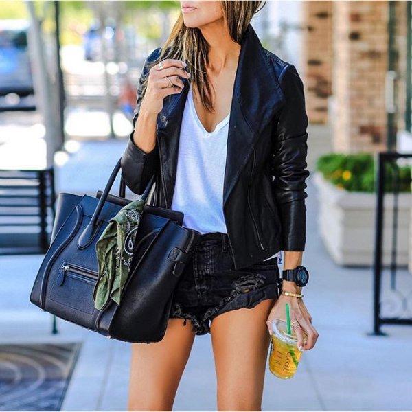 clothing, jacket, leather, denim, footwear,