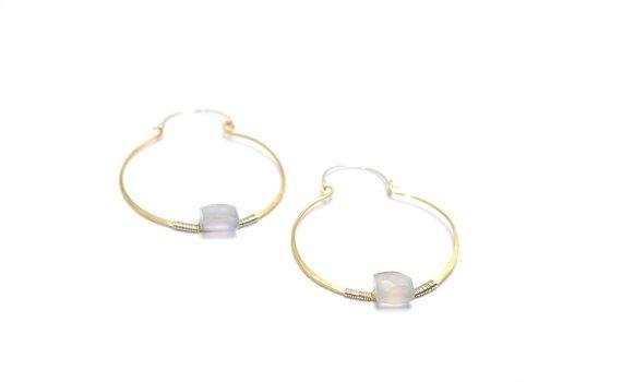 Hoop Earrings with Genuine Moonstone Gemstones