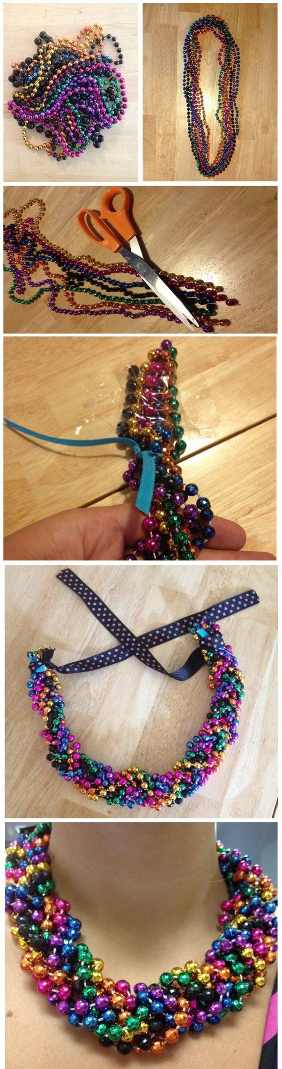 Braided Mardi Gras Bead Statement Necklace