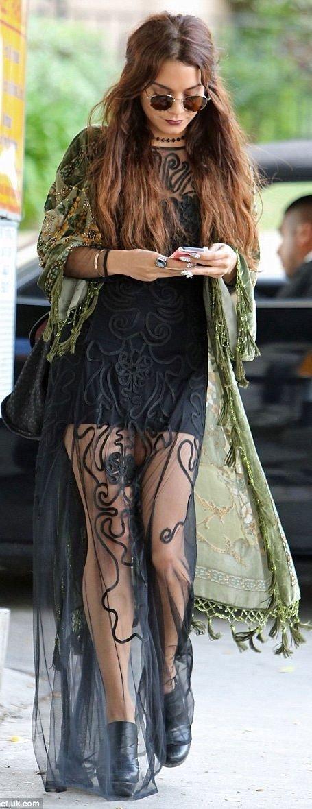 Black Maxi Hippie Dress and Long Kimono