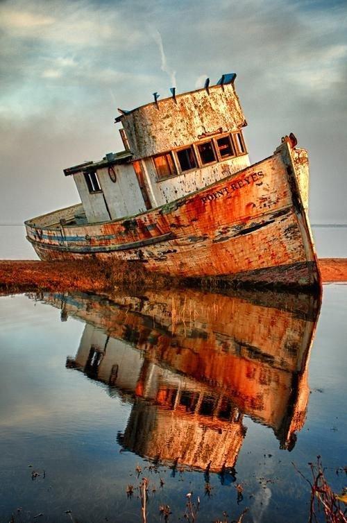 Point Reyes Shipwrecks,vehicle,ship,reflection,sea,