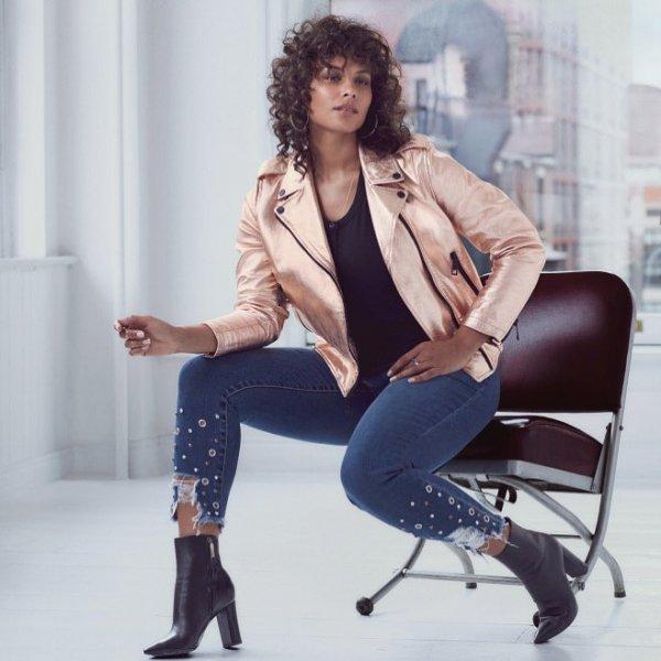 fashion model, sitting, blazer, jeans, outerwear,