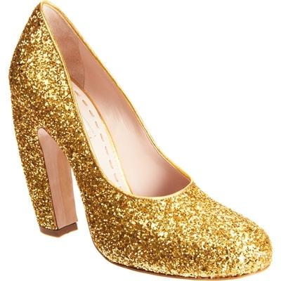 Miu Miu Gold Glitter round Toe Pump