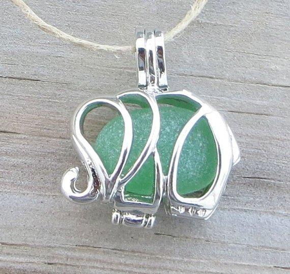 Sea Glass Elephant Necklace