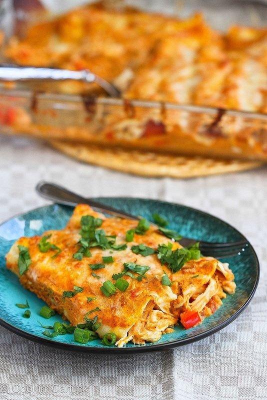 Pumpkin and Chicken Enchiladas
