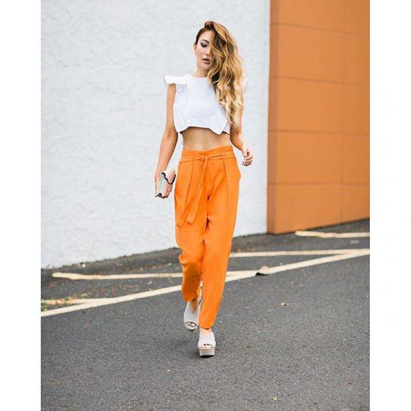 white, clothing, yellow, orange, sleeve,