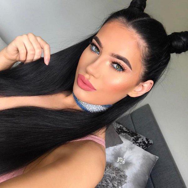hair, black hair, clothing, person, woman,