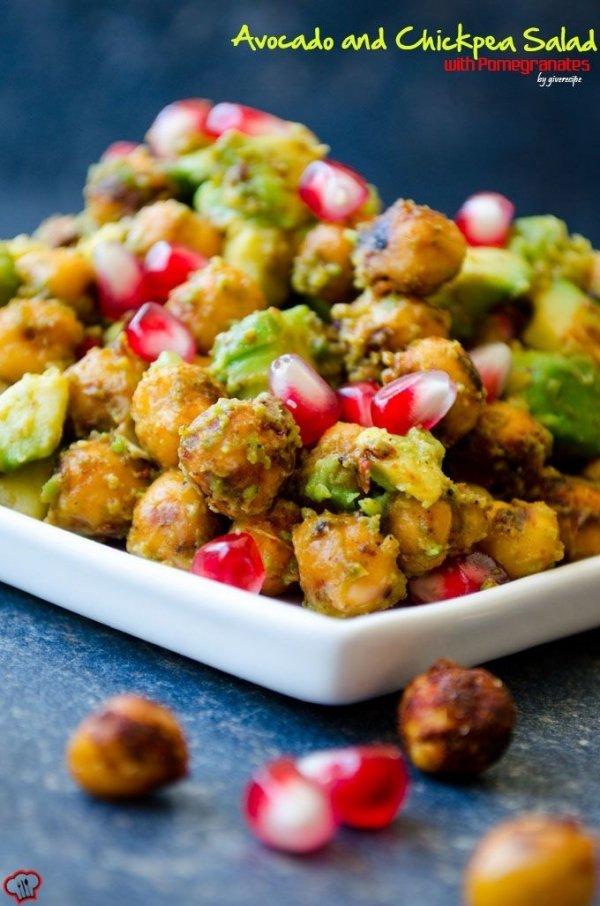 Avocado and Chickpea Salad with Pomegranates