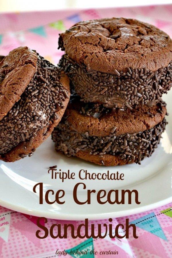 Triple Chocolate Ice Cream Sandwich