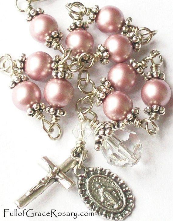 Pink Pearl Rosary Bracelet
