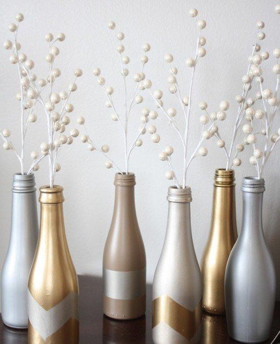Metallic Bottle Vases