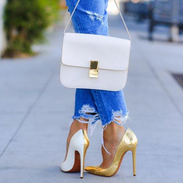 footwear, white, blue, high heeled footwear, shoe,